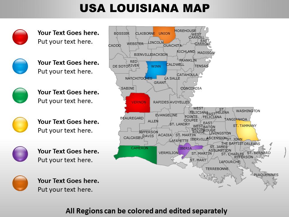 US Louisiana Map PPT Slide