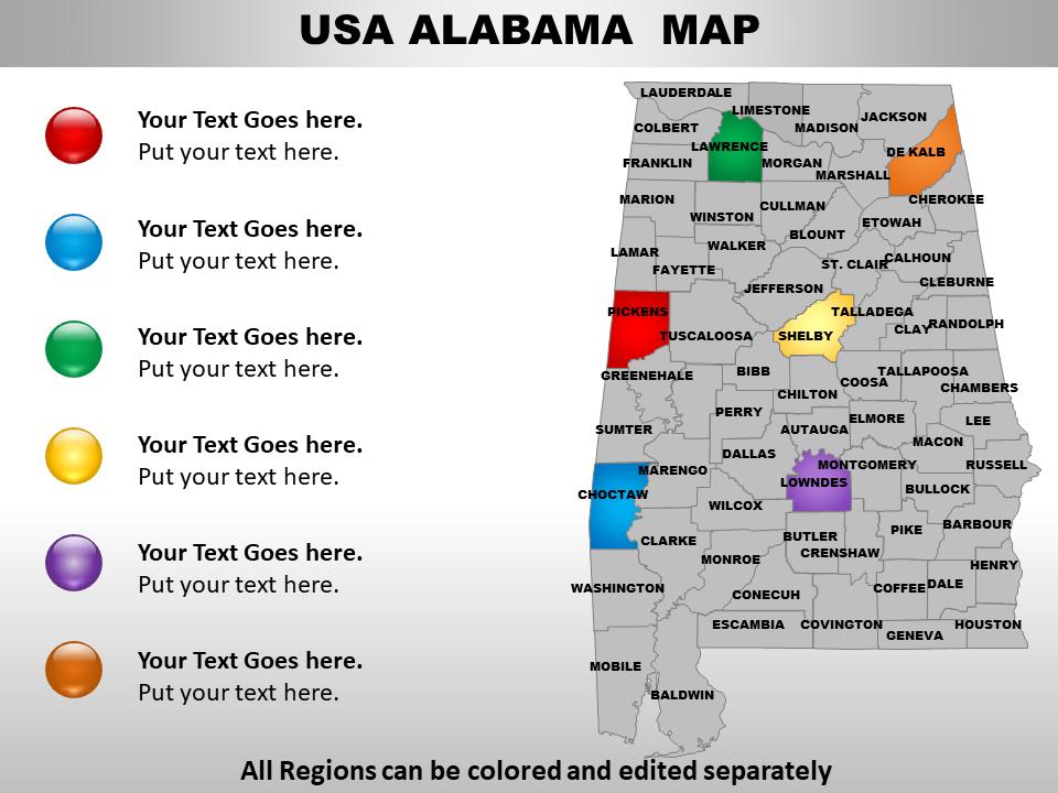 US Map showing Alabama State