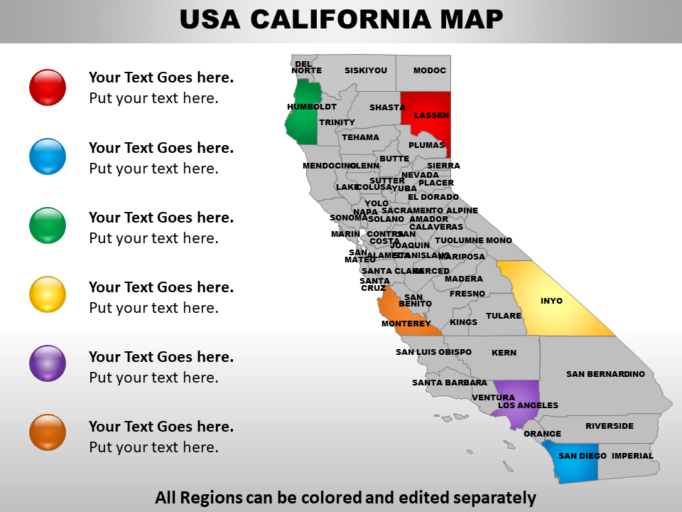 US Map showing California State