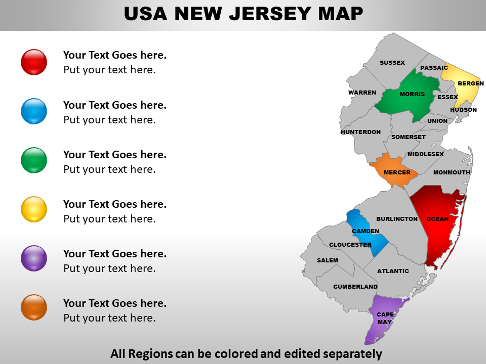US Map showing New Jersey PPT Template