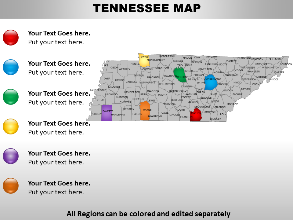 US Map showing Tennessee State
