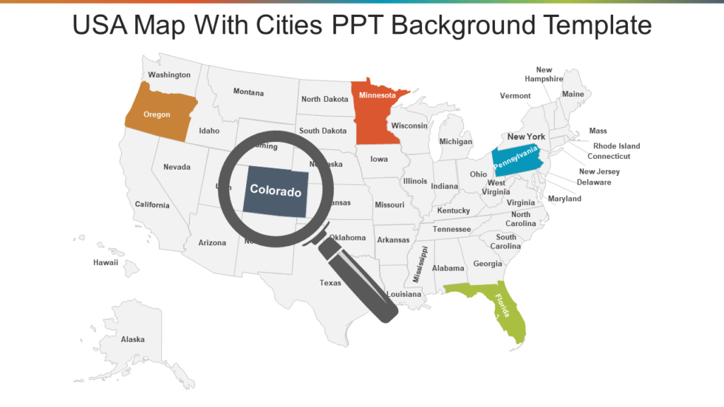 US Map with Cities PPT Template