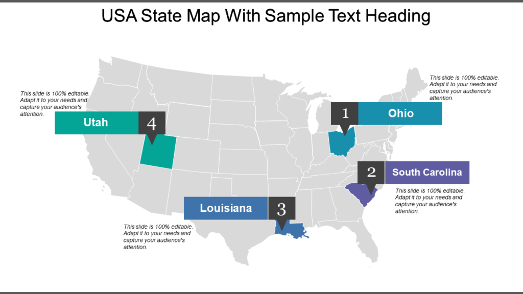 US State Map with Text Heading