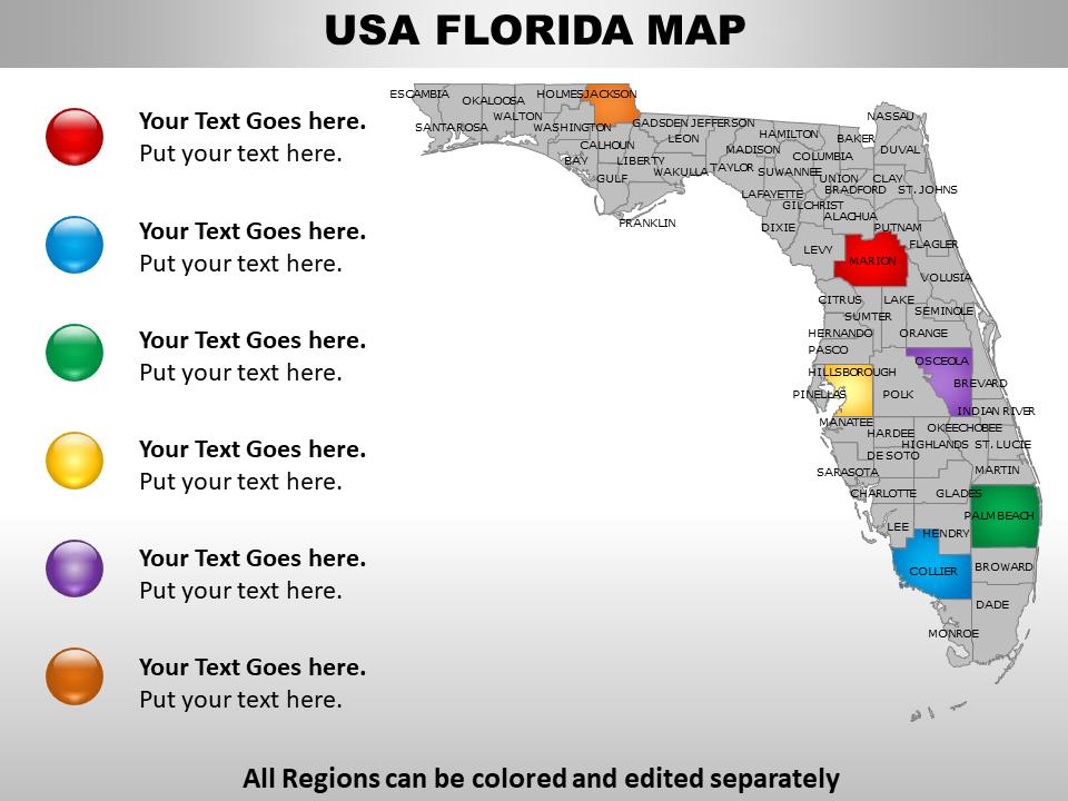 USA Map showing Florida State