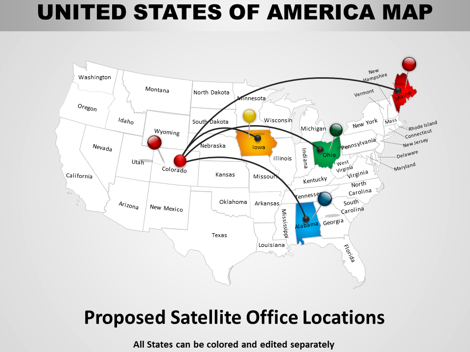 USA Map PowerPoint Diagram