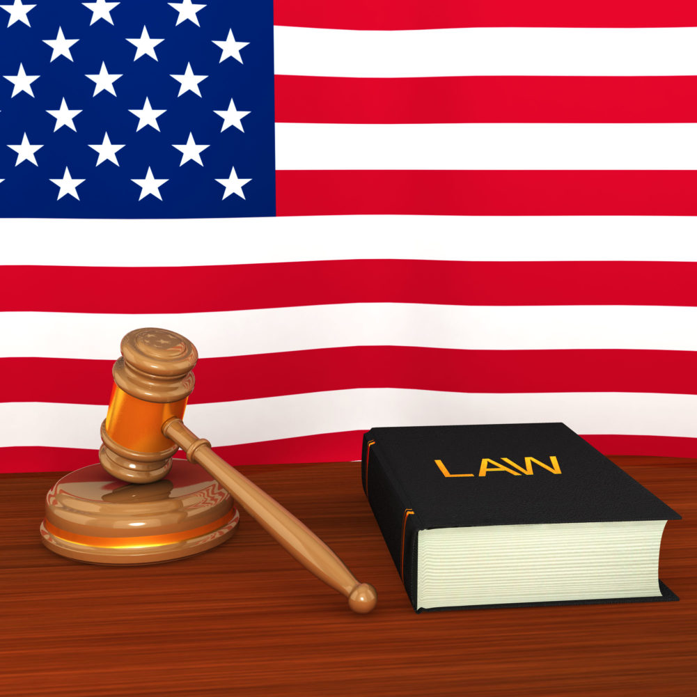 US Law Concept With Flag