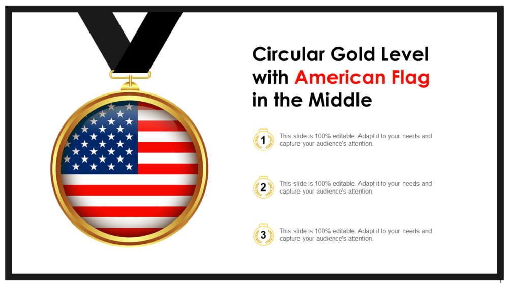 Circular Gold Level With American Flag