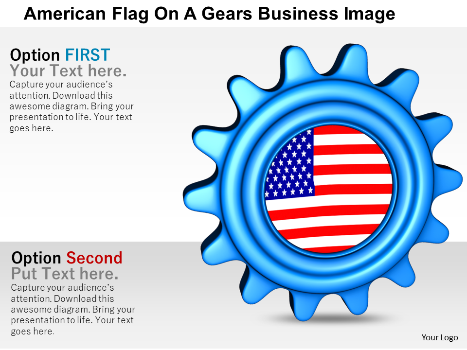 American Flag On A Gears
