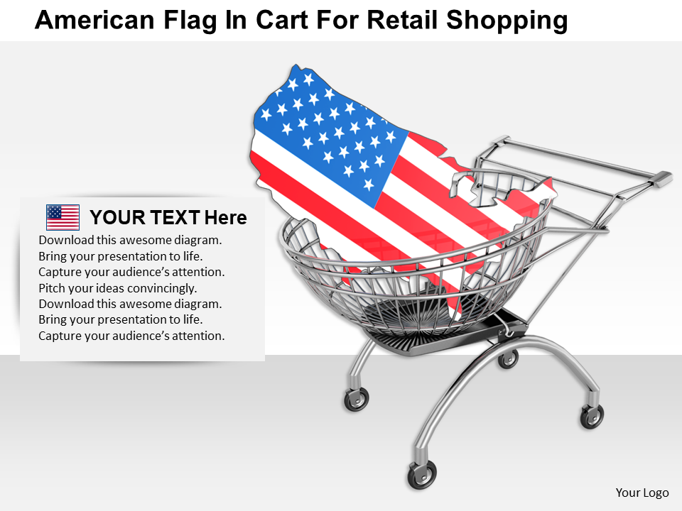 American Flag In Cart For Retail Shopping
