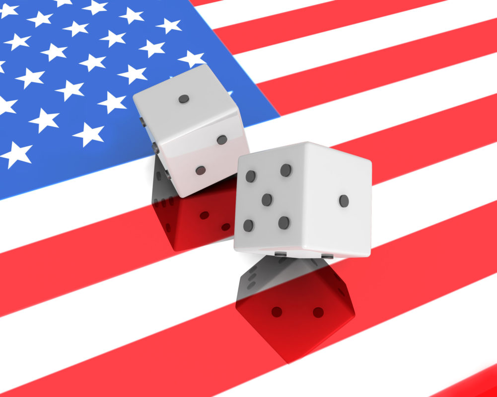 Two Dices On US Flag