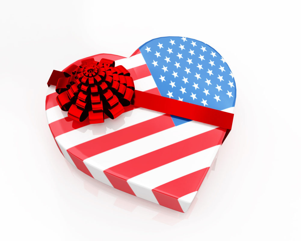 US Flag Designed As Heart Gift