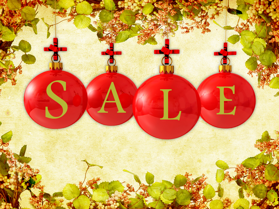 Sale Baubles On Winter Background