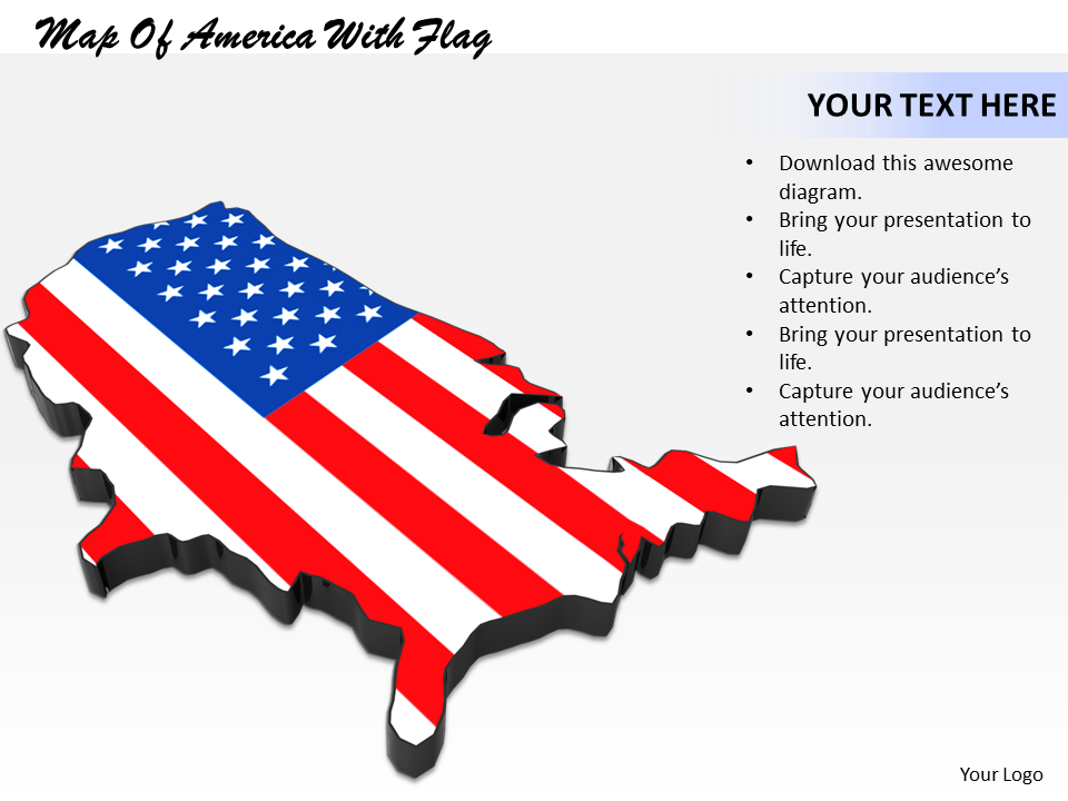 Map of America with Flag Image