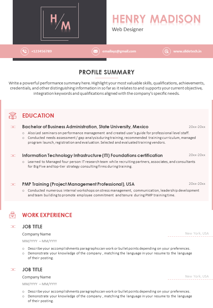 Resume with Profile Summary PPT Template