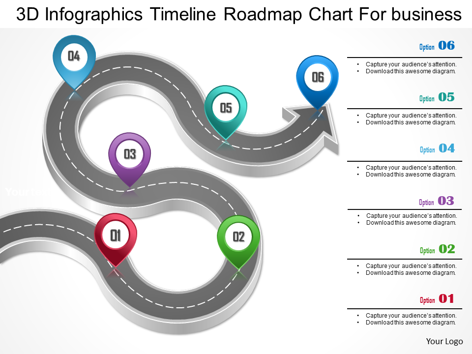 3d Infographics Free Timeline Roadmap Chart for Business PowerPoint Template
