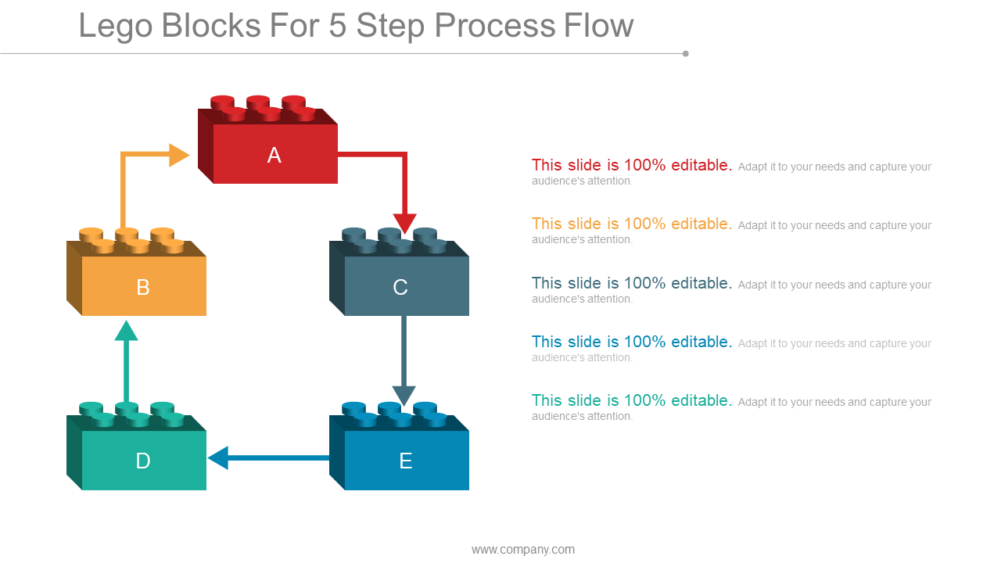 Lego Blocks For 5 Step Process Flow