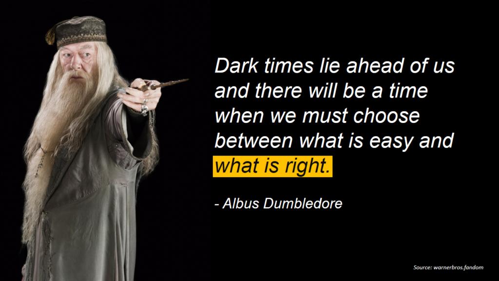 Album Dumbledore quote on dark times