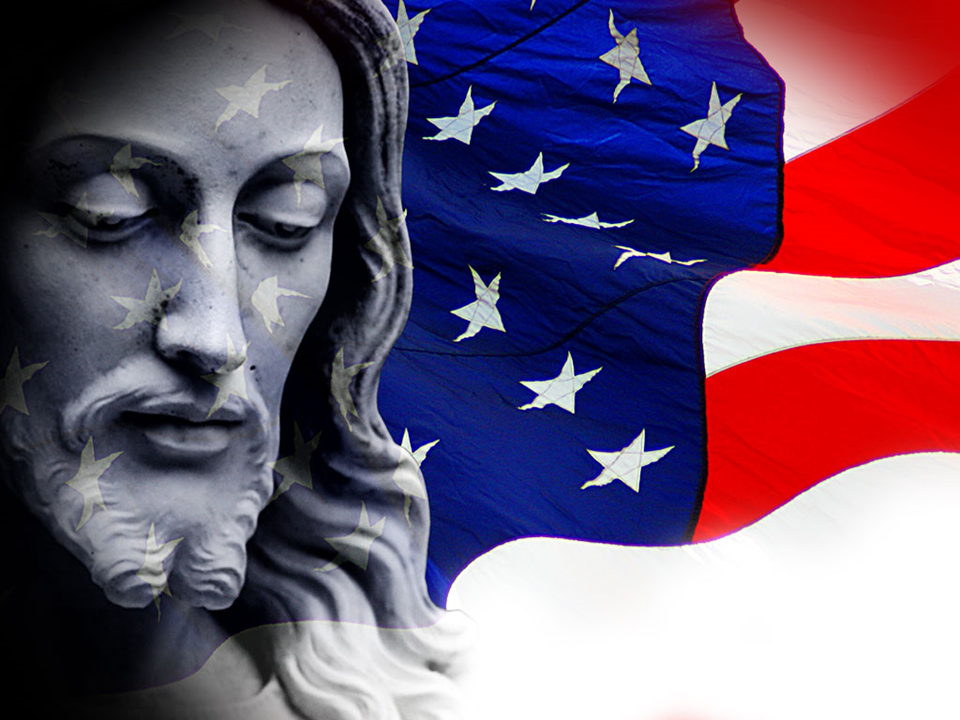 Jesus Christ Cross with flag PowerPoint Template