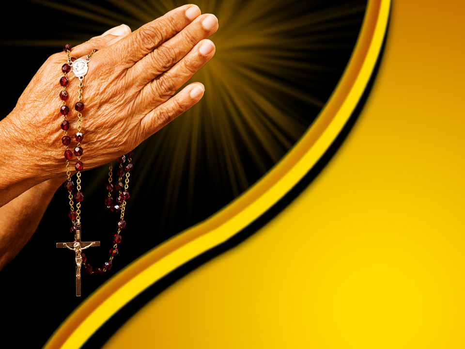 Old Hands Praying Religion PowerPoint Template