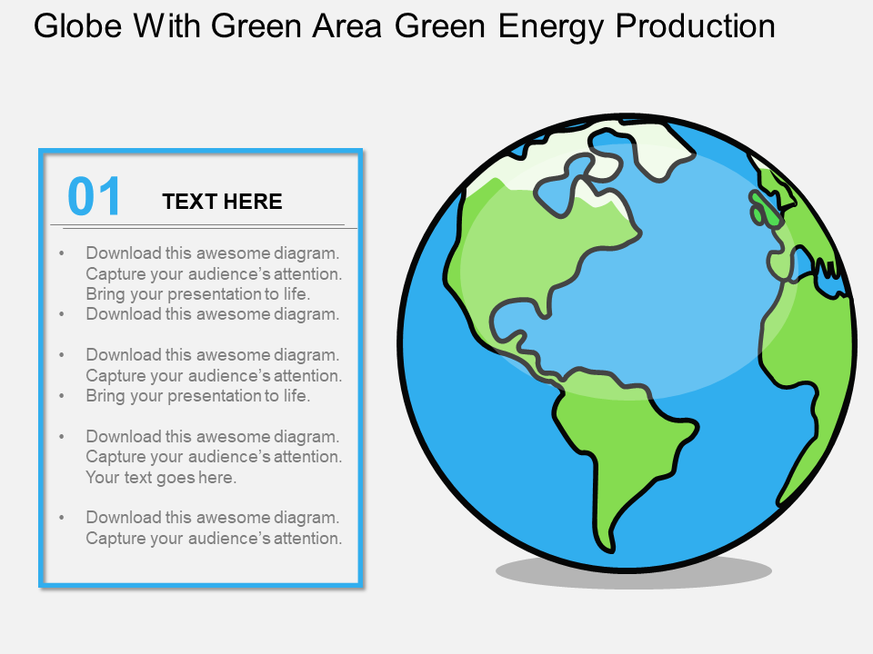 Globe With Green Area Green Energy Production