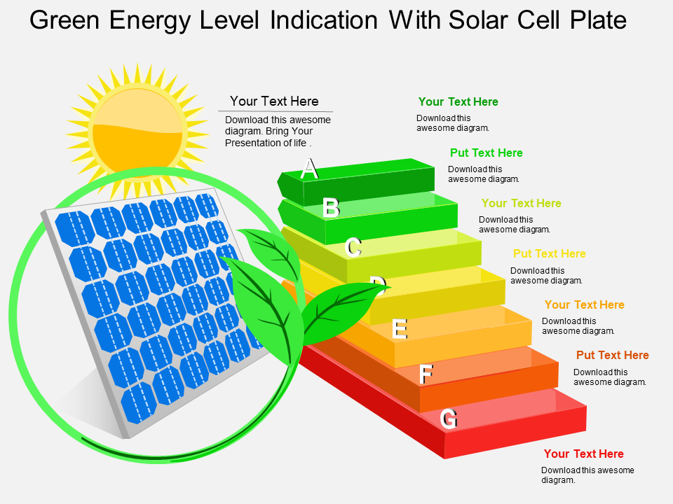Green Energy Level Indication With Solar Cell Plate Powerpoint Template