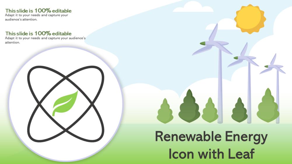 Renewable Energy Icon With Leaf