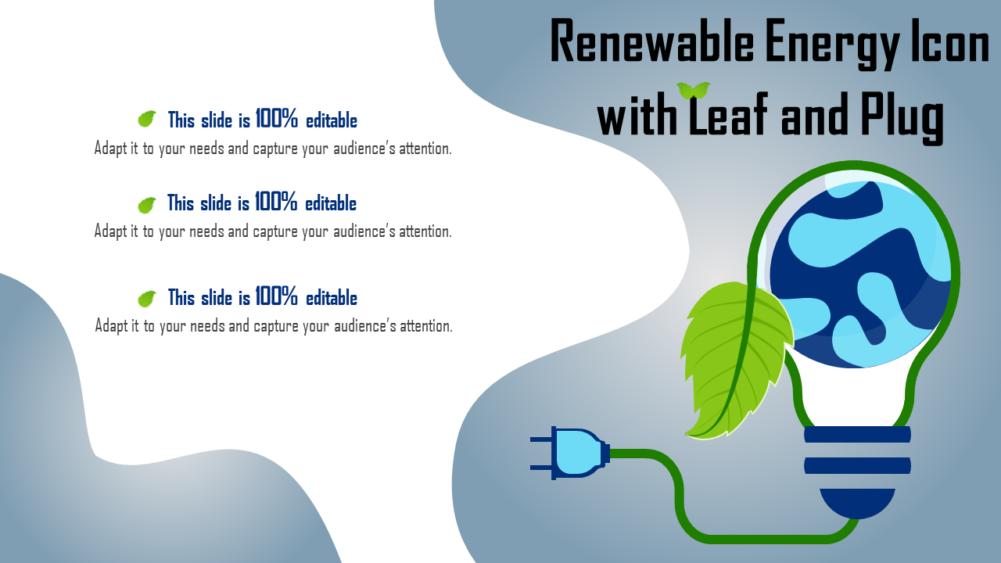 Renewable Energy Icon With Leaf And Plug