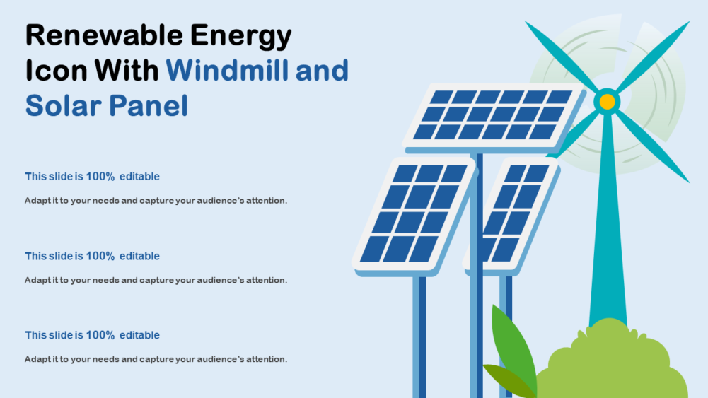 Renewable Energy Icon With Windmill And Solar Panel