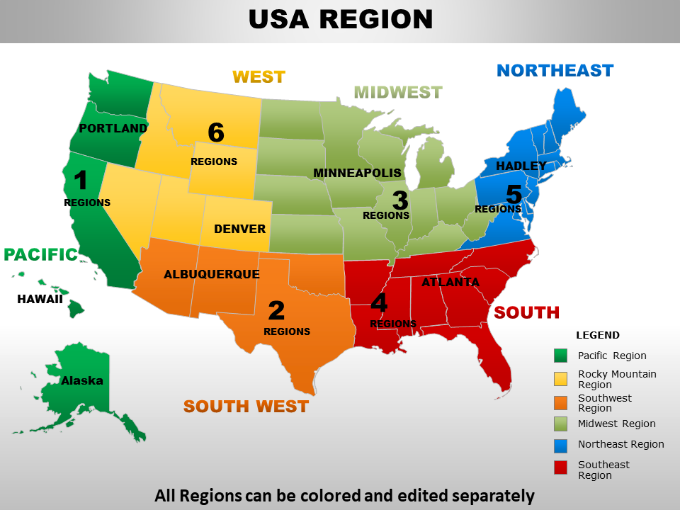 Us Map Sales Regions Top 25 USA Sales Territory Map PowerPoint Templates for Hitting