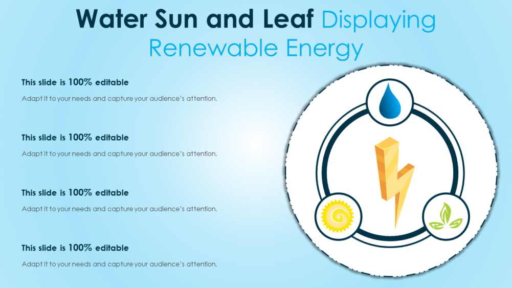 Water Sun And Leaf Displaying Renewable Energy
