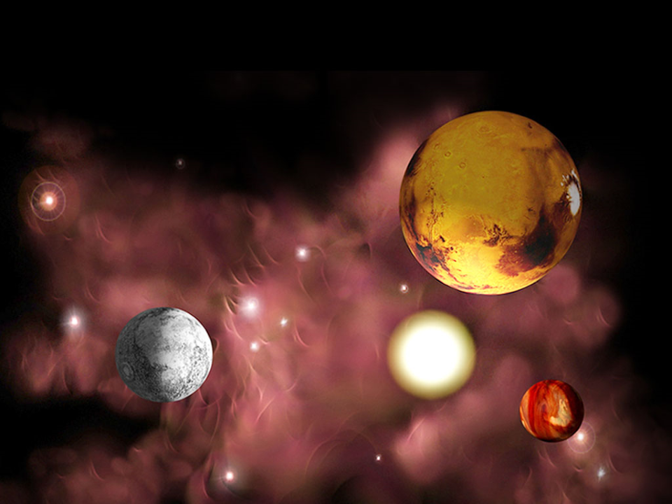 Planets In Space Geographical PowerPoint Templates
