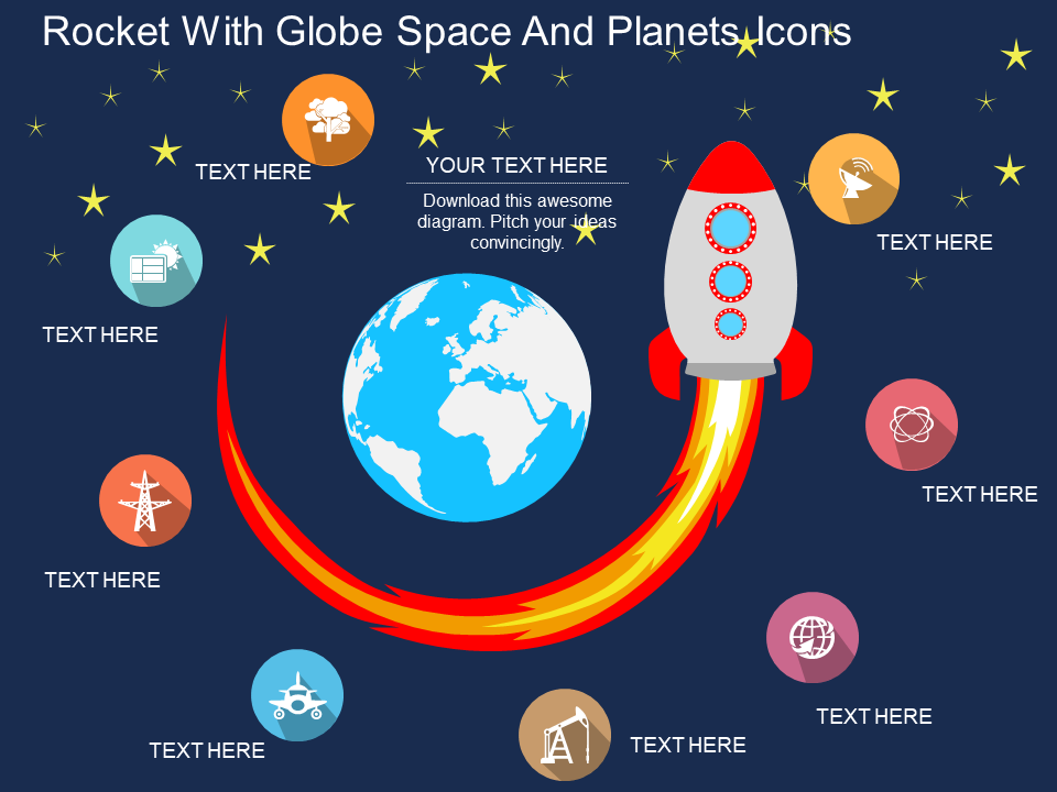 Rocket With Globe Space And Planets Icons Flat PowerPoint Design