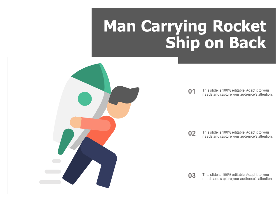 Man Carrying Rocket Ship On Back