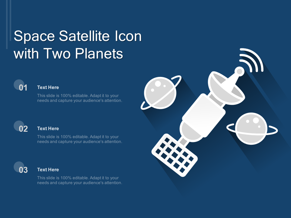 Space Satellite Icon With Two Planets