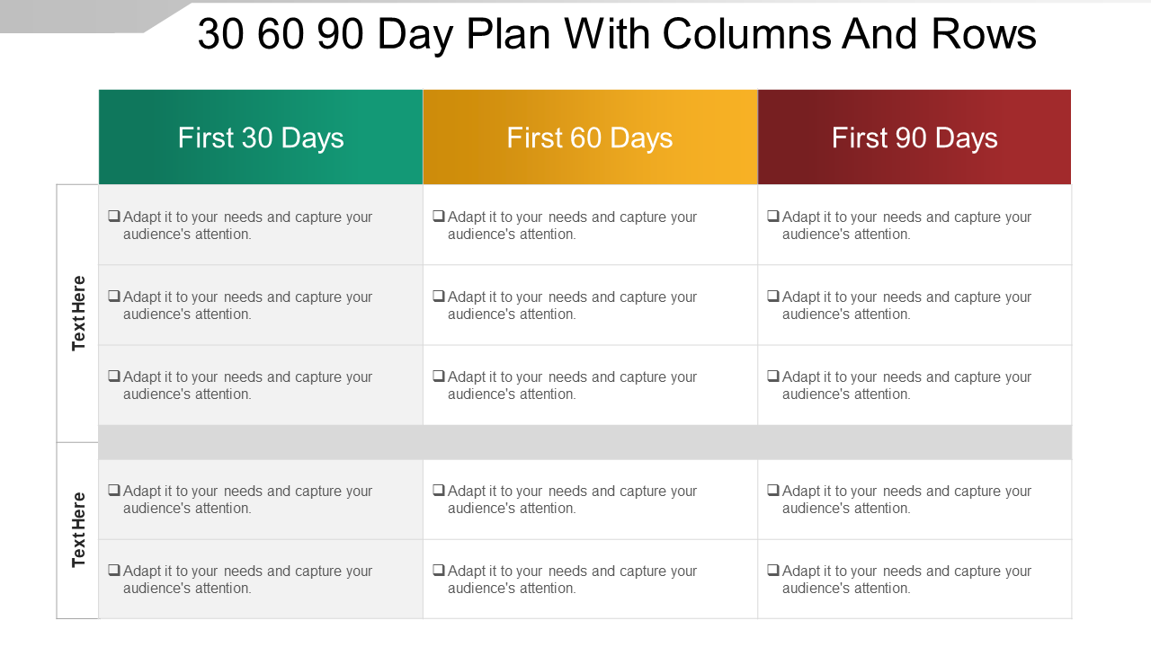 30-60-90 Day Plan With Columns And Rows Sample Of PPT