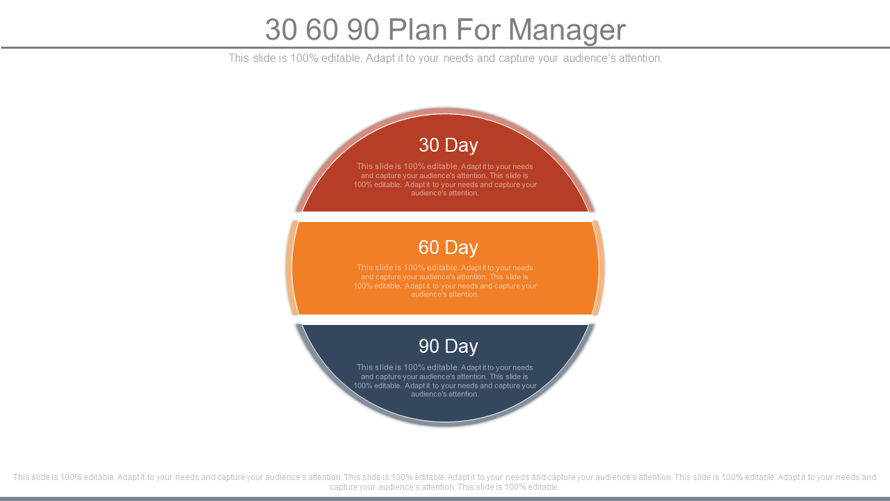 30-60-90 Plan For Manager PowerPoint Slides