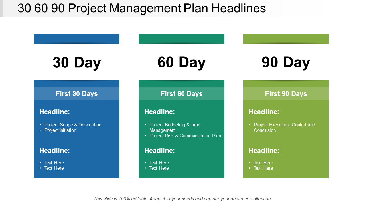 30-60-90 Project Management Plan Headlines