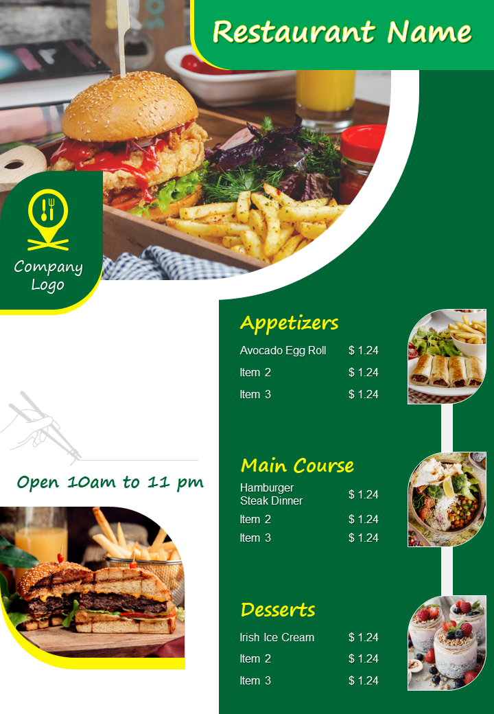 Restaurant Menu Brochure Two Page Flyer