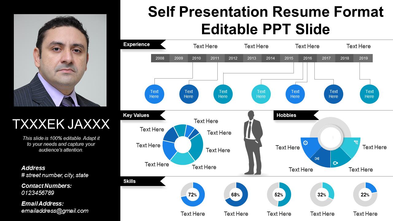 Self Presentation Resume Format Editable PPT