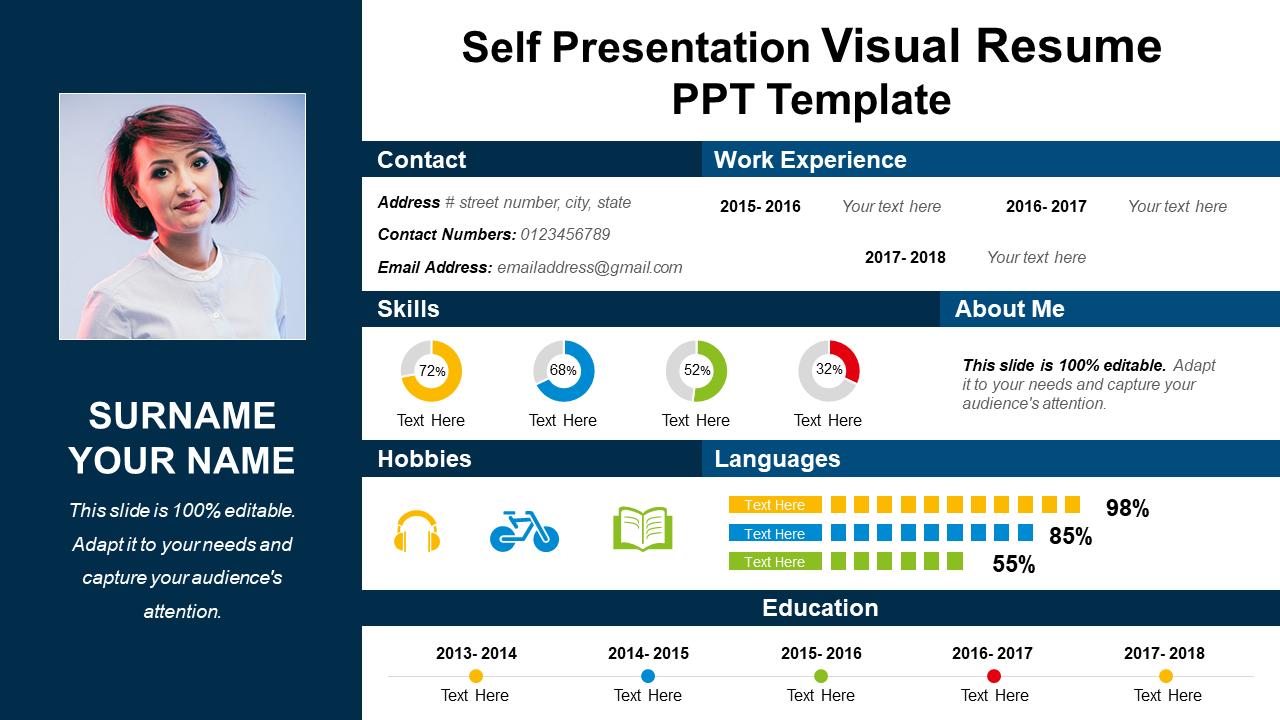 Self Presentation Visual Resume PPT