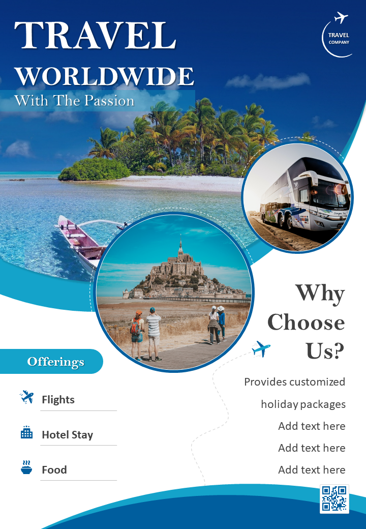 World Travel And Tourism Two Page Brochure