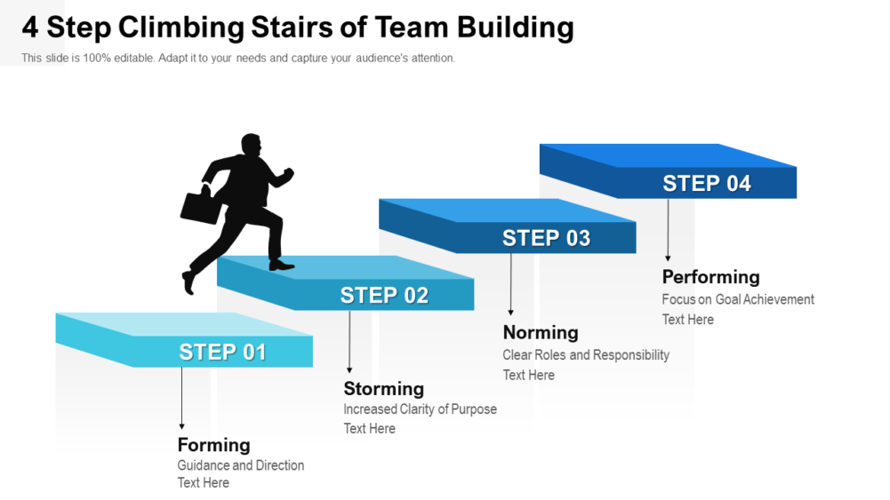 4 Step Climbing Stairs Of Team Building