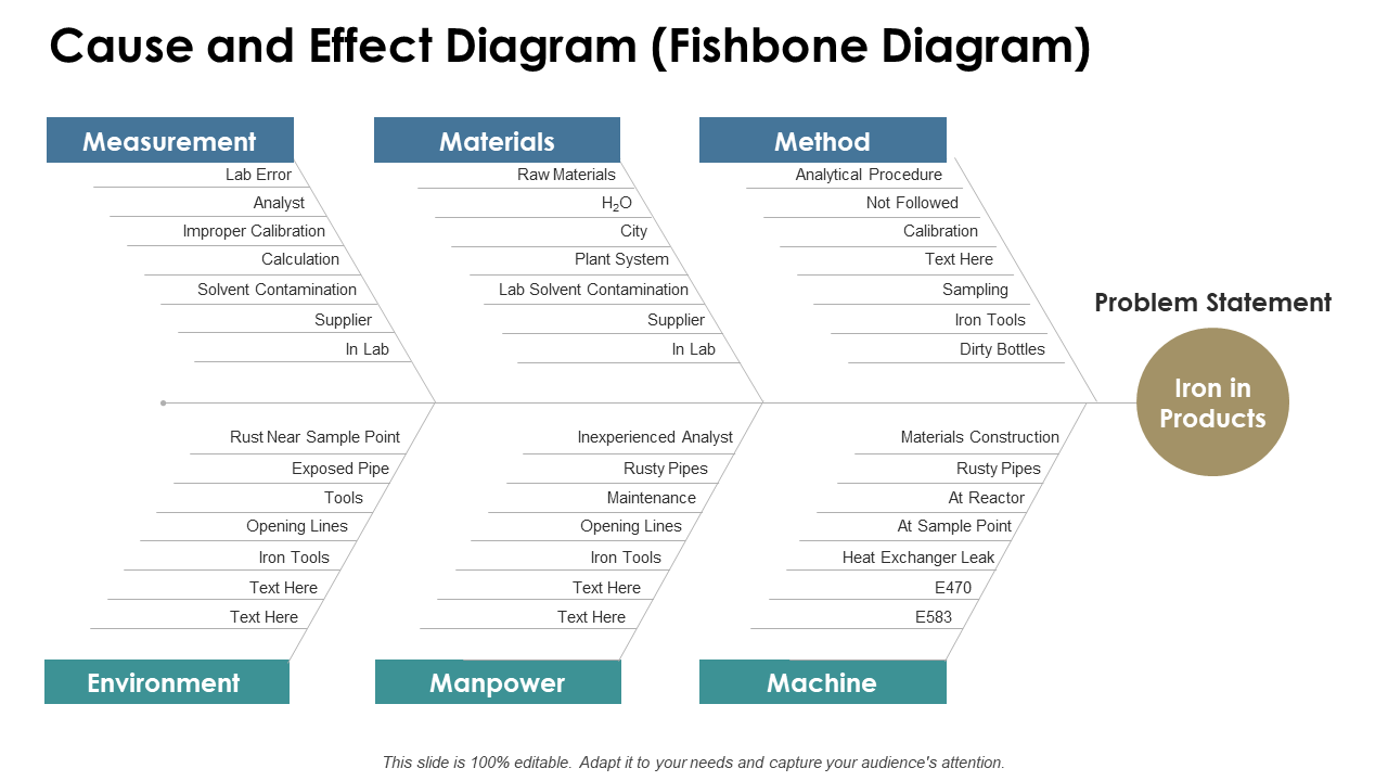 Cause And Effect Diagram Fishbone Diagram PPT
