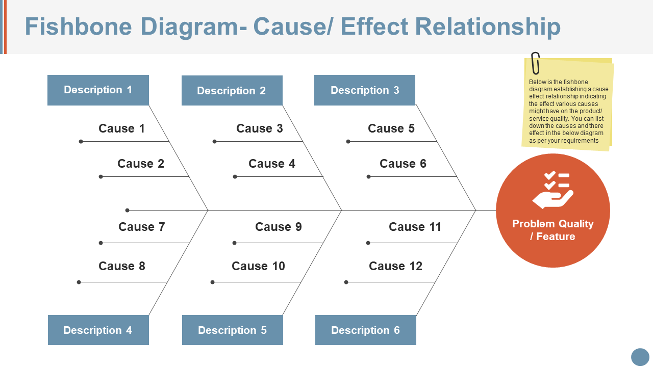 Fishbone Diagram Cause Effect Relationship PPT Icon