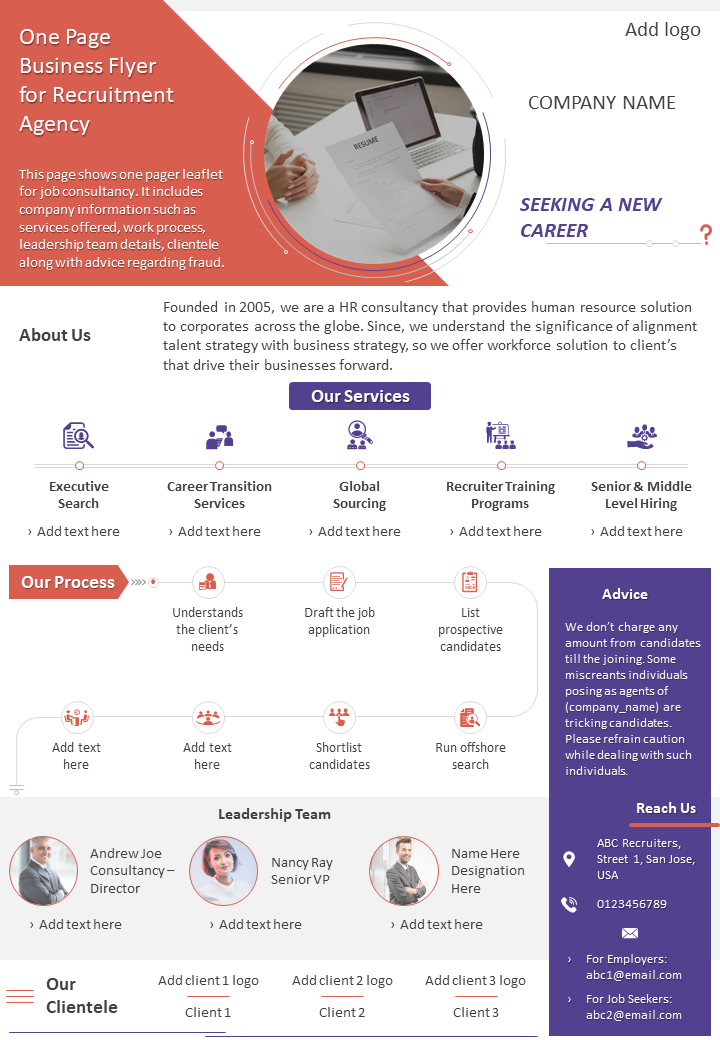 One Page Business Flyer For Recruitment Agency Presentation Report Infographic PPT PDF Document