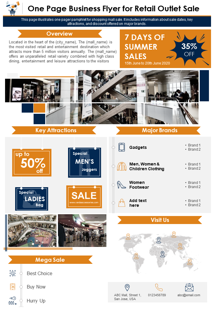 One Page Business Flyer For Retail Outlet Sale Presentation Report Infographic PPT PDF Document