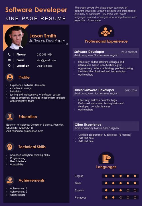 One Page Resume Template 24
