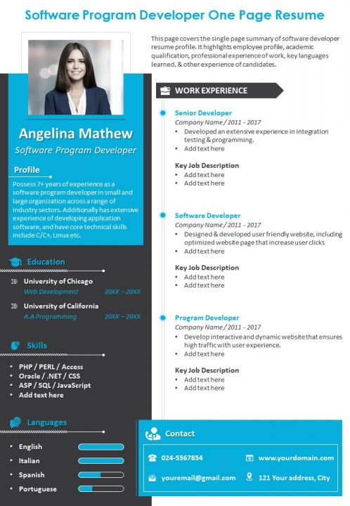 One Page Resume Template 22