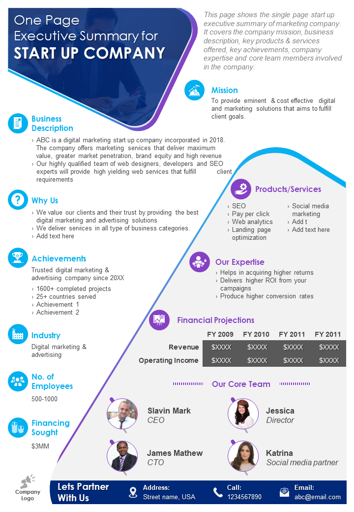 Top 10 One Pager Startup Templates To Convey