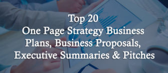 Top 20 One Page Strategy Business Plans, Business Proposals, Executive Summaries and Pitches For Entrepreneurs